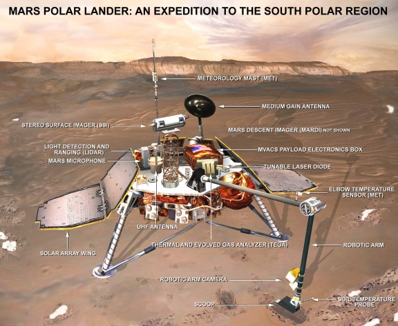 Il Mars Polar Lander (fonte: NASA via Wikipedia).